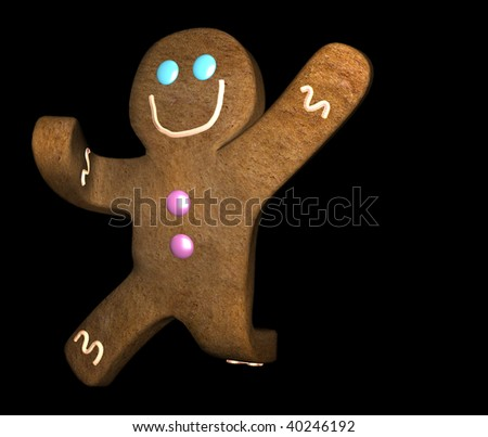 Illustration of gingerbread man smiling and leaping against black background