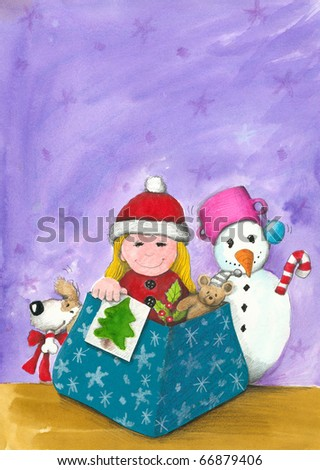 Illustration of Girl in the Christmas box - stock photo