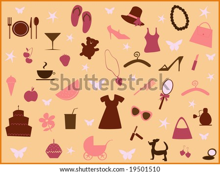 illustration of girl's things
