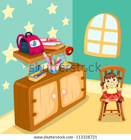 illustration of girl study room - stock photo