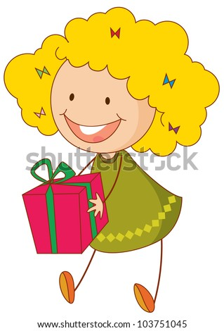 Illustration of girl with a gift - EPS VECTOR format also available in my portfolio.