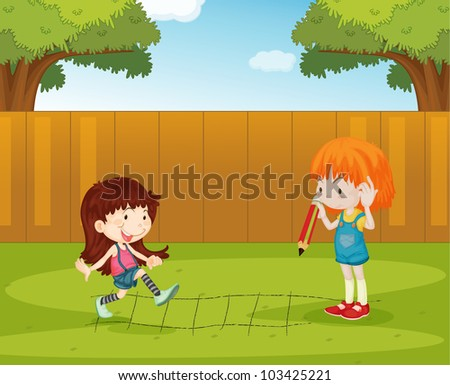Illustration of girls playing in the backyard - EPS VECTOR format also available in my portfolio. - stock photo