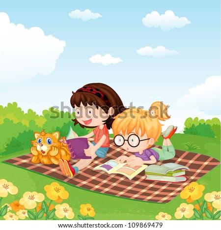 illustration of girls reading book in the garden - stock photo