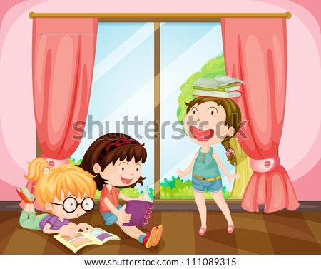 illustration of girls studying in a room