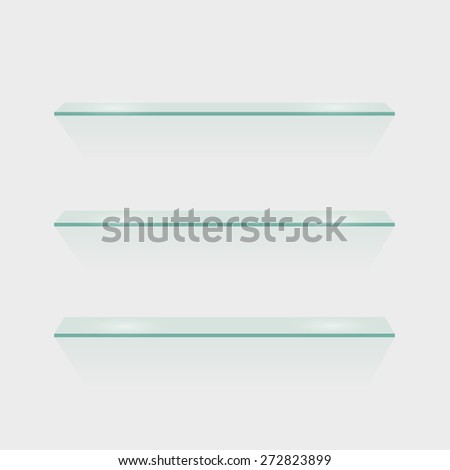 Illustration of glass shelves isolated against a white wall. - stock photo