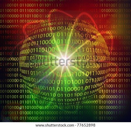 Illustration of global data hi-tech technology background - stock photo