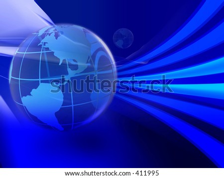Illustration of global use of information technology. Speed of data transfer. - stock photo