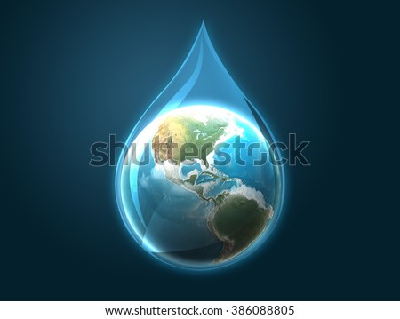 illustration of globe inside water drop on dark blue abstract background