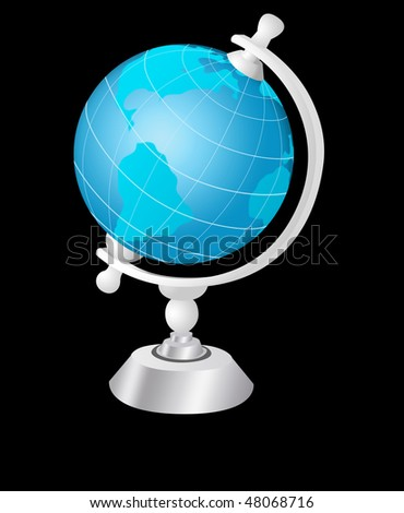 Illustration of globe on a black background