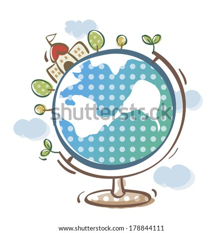 Illustration of globe with school building - stock photo
