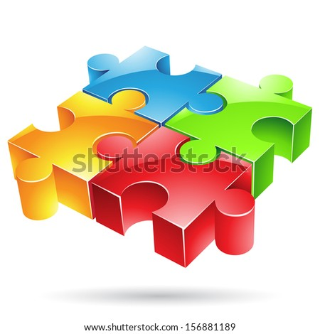 illustration of glossy colorful jigsaw puzzle - stock photo