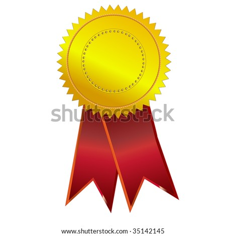 Illustration of gold award ribbon - stock photo