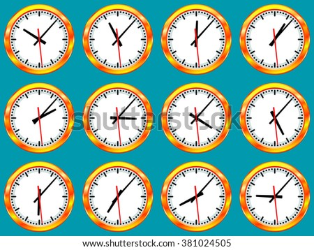 Illustration of gold clock collection with different time according to the time zones  - stock photo