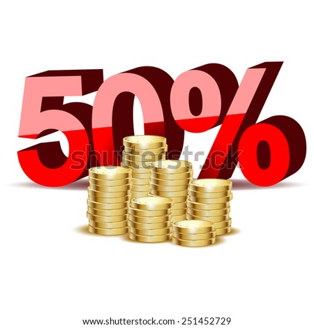 Illustration of gold coins and percentage on a white background. - stock photo