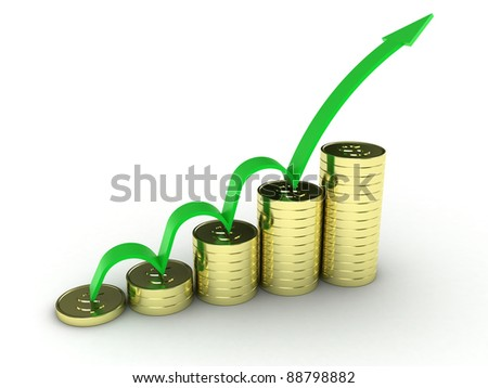 Illustration of gold coins with a green arrow from above - stock photo