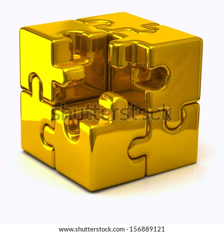 Illustration of gold puzzle cube without one piece - stock photo