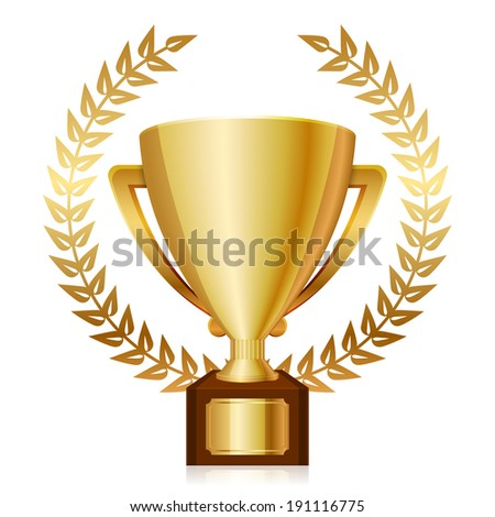 illustration of gold shiny trophy and laurels - stock photo