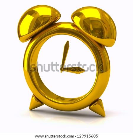 Illustration of golden clock - stock photo