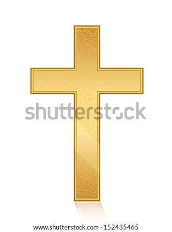 Illustration of golden cross - stock photo