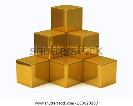 Illustration of golden cubes isolated on white background - stock photo