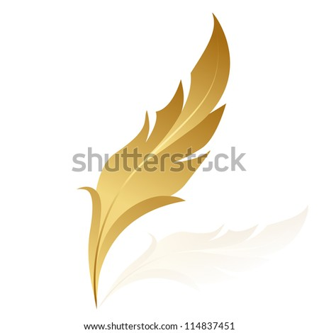 Illustration of golden feather - stock photo