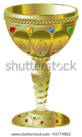 Illustration of golden goblet with precious stones. Vector version is available. - stock photo