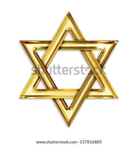 Illustration of golden hexagram on white background - stock photo