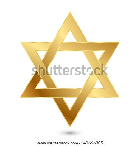 Illustration of golden Magen David (star of David) - stock photo