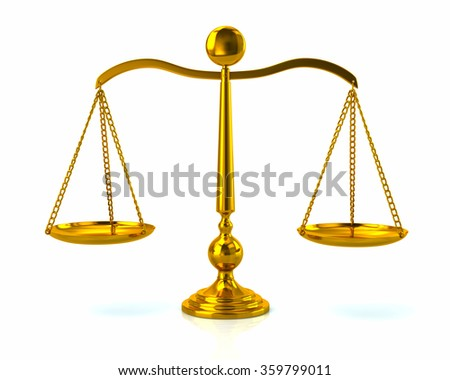 Illustration of golden scales on white - stock photo