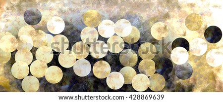 Illustration of golden shinny circles on gold and black background texture