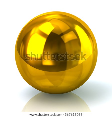 Illustration of golden sphere isolated on white background - stock photo