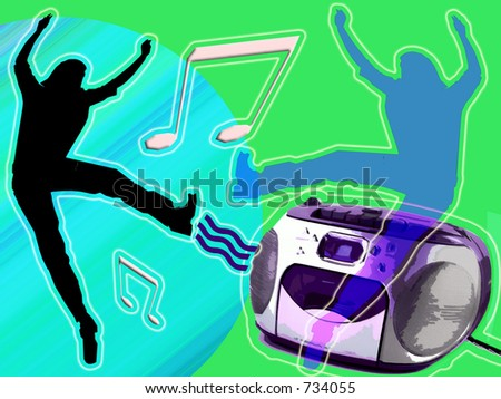 Illustration of good feelings dancing to music.