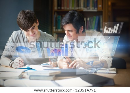 Illustration of graphs and pie charts against students preparing an essay - stock photo