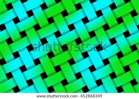 Illustration of green and cyan weaved pattern - stock photo