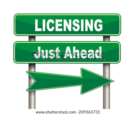 Illustration of green arrow and road sign of licensing just ahead - stock photo