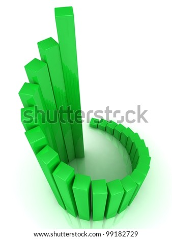 Illustration of green business chart helix, over white background - stock photo
