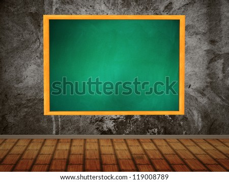Illustration of green chalkboard hang on wall in room style. - stock photo