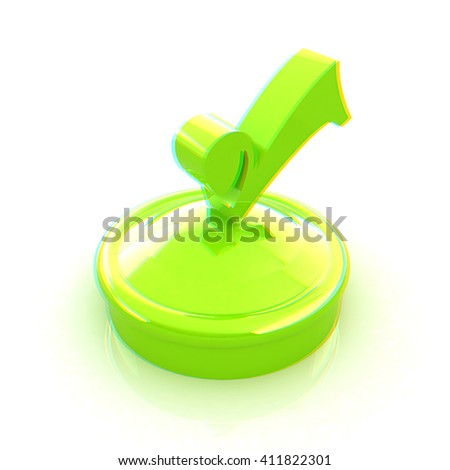 illustration of green checkmark on isolated background . 3D illustration. Anaglyph. View with red/cyan glasses to see in 3D. - stock photo