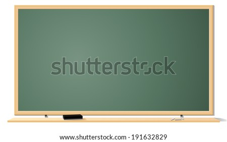 Illustration of green clean classroom blackboard isolated on white background. - stock photo