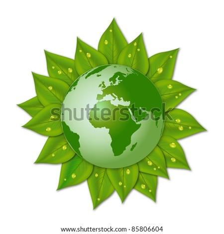 illustration of green earth on leaves