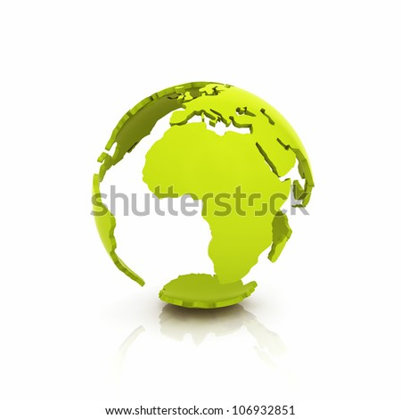Illustration of green Earth shell on reflective background - stock photo