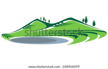 Illustration of green grass covered hills and a lake