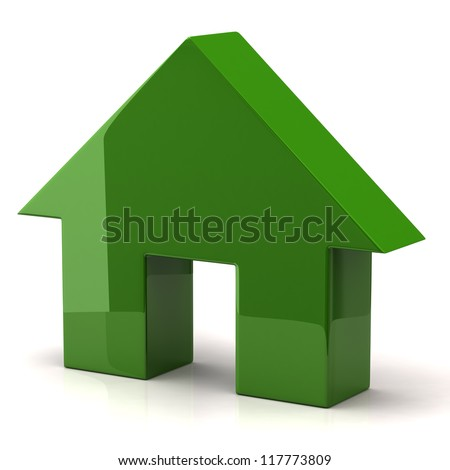 Illustration of green house on white background - stock photo