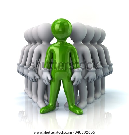 Illustration of green leader and team - stock photo