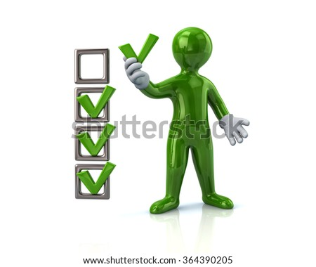 Illustration of green man and checklist boxes - stock photo