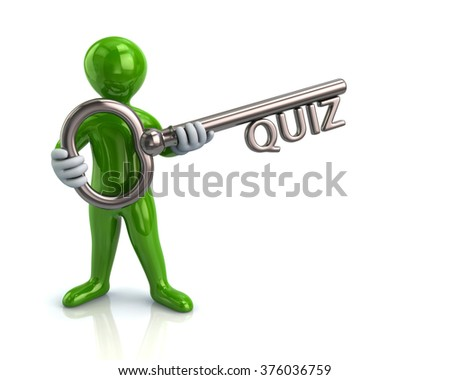 Illustration of green man and silver key with quiz - stock photo