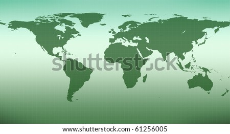 Illustration of green map of the world - stock photo