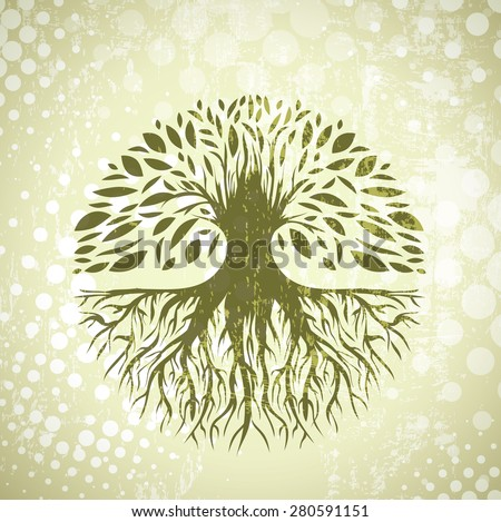Illustration of Green Round Abstract Vintage Tree Background - stock photo