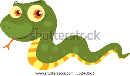 illustration of green snake on white