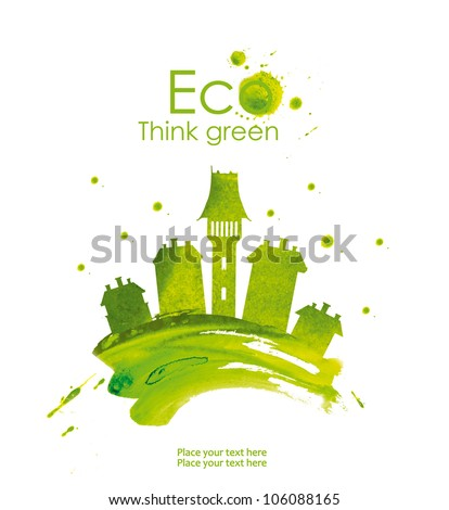 Illustration of green town, hand drawn from watercolor stains, isolated on a white background. Think Green. Eco Concept. - stock photo
